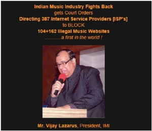 A screenshot of the landing page of Indian Music Industry claiming that it successfully blocked illegal music websites.