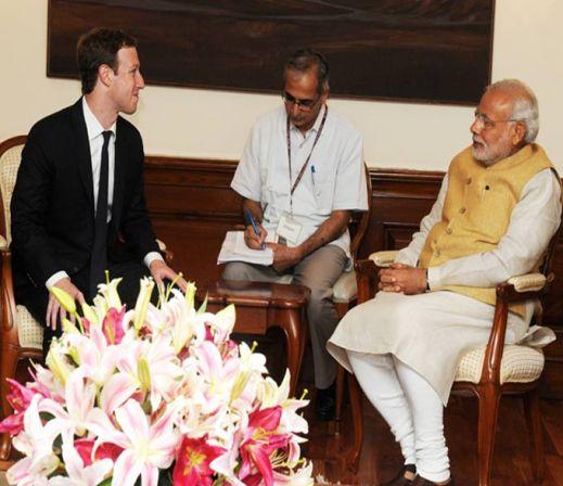 PM Narendra Modi and Mark Zuckerberg meeting on 10 October 2014